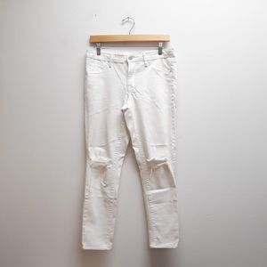 Mossimo White Cropped Jeggings w/ Rips 10/30